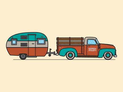 Goin' to the lake! logo graphic design retro wood design illustration vintage minimal flat truck camper