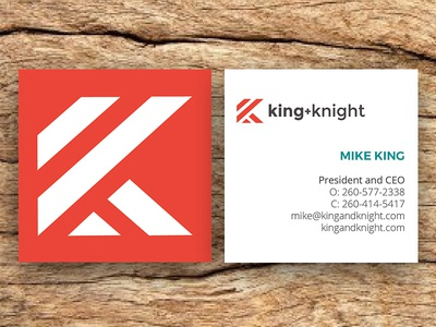 King + Knight Square Business Cards