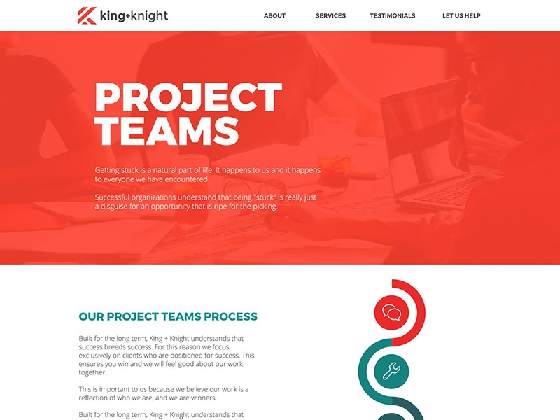 King + Knight Project Teams Landing Page services web page process responsive header wordpress ui ux landing page flat agency website