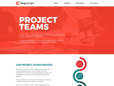 King + Knight Project Teams Landing Page