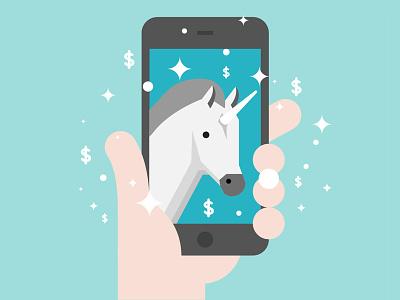 Tech Term Tuesday: Unicorn flat technology hand magic app iphone unicorn graphic design design icon illustration