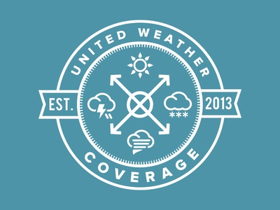 United Weather Coverage Logo design graphic design blue minimal seal crest icon brand illustration logo weather