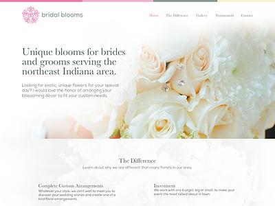 Bridal Blooms One Page Website green pink one page single page logo bridal wedding florist website web design web flower