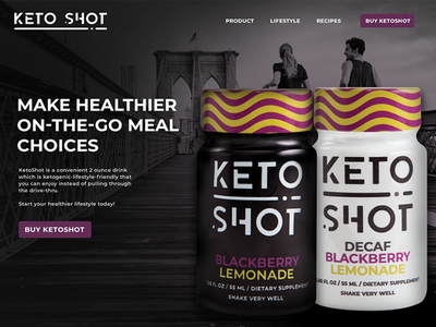KetoShot Website layout dark website bottles branding design ux clean healthy web design ui