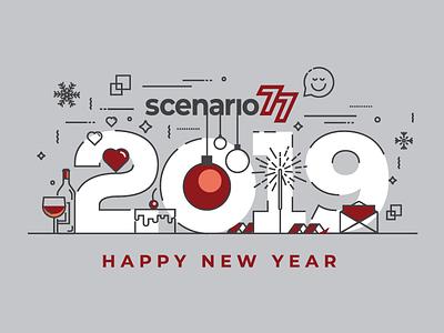 Scenario 77 Happy New Year Card 2019 icon minimal graphic card happy new year logo design branding vector clean design illustration graphic design