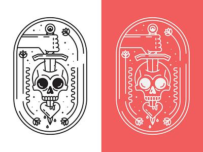 Skull Monoline Crest t-shirt logo design vector minimal illustration graphic design line art stroke seal crest tattoo monoline skull