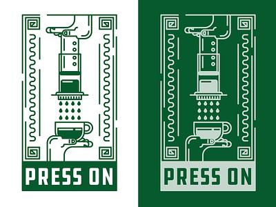 (Aero) Press On graphic designer icon t-shirt retro vintage flat logo minimal design green graphic design illustration vector monoline line art art deco aeropress coffee