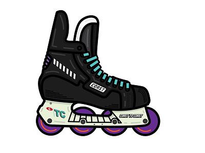 Bauer Retro Roller Hockey Skate - Coast to Coast Hockey hockey logo teal black purple canada roller hockey sports retro bauer hockey skate hockey vector clean flat illustration design graphic design