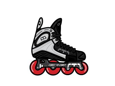 Mission Hockey Skate - Coast to Coast Hockey hockey logo usa canada sports roller hockey roller skate hockey graphic designer graphic vector clean logo flat minimal illustration design graphic design
