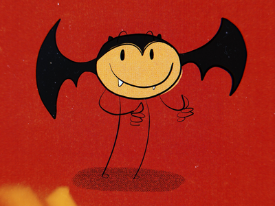 Smiley Retro Bat Dude
