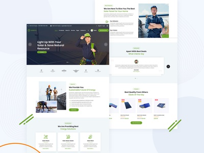 Solar Power & Green Energy Theme 🌞 ui psd solar energy ui  ux design ui design design dribbble pixelnx eco ecology solar panels solar power solar panel business eco-friendly environment green energy recycling