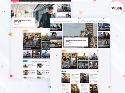 Wlog - Blog and Magazine Template psd design ux ui uxui website builder wordpress html theme vector website pixelnx template psd social news entertainment designers creative blogger blog
