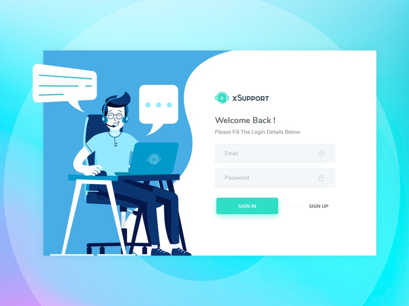 xSupport - Login Page Design vector ui logo illustration design psd login page design dribbble pixelnx sign in signup tickets support system html login page uidesign xsupport