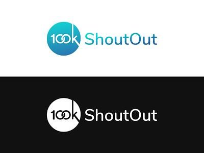100k Shoutout Logo 100k icon branding typography illustration design vector ui logo pixelnx