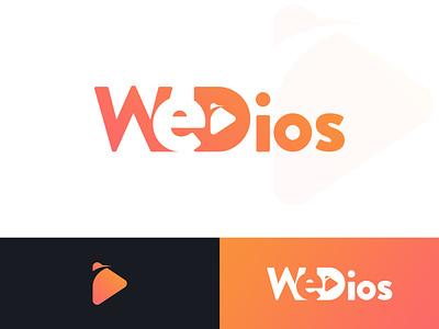 WeDios Logo white black play logo play icon videos wedios orange video player video music website vector design ui psd pixelnx logo