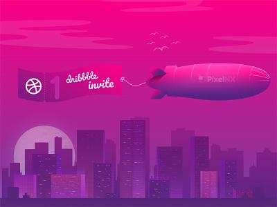 Dribbble Invite giveaway illustration design moon city vector pixelnx dribbble invitation dribbble invites invitation shot invite
