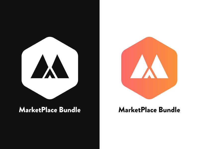 Marketplace Bundle Logo m monogram badge vector logo ui design pixelnx text black white orange m letter m m icon m logo bundle logo marketplace