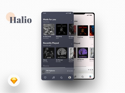 Halio music musicapp free sketch sketch darkui dark hifiwireframe hifi wireframe wireframe kit uiux ui design app freebies freebie free