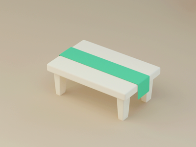 Green table illustration motiongraphics stylized chairs cute 3d animation motion table maxon c4d