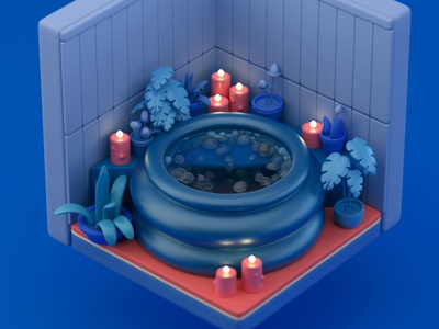 Hot tub hot tub illustration octane toon cute stylized 3d cinema 4d c4d