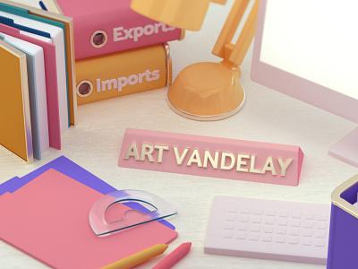 """A is for Art Vandelay"" octane toon stylized cinema 4d illustration c4dfordesigners cg 3d cinema4d c4d"