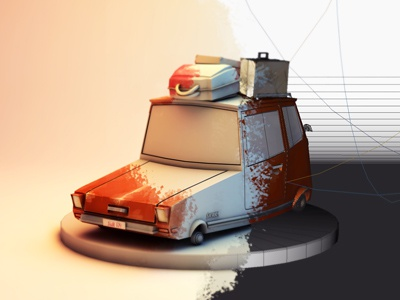 """""""messy breakdown"""" c4d cinema 4d model mesh uv map luggage cartoon toon bodypaint mapping texturing uv mapping"""