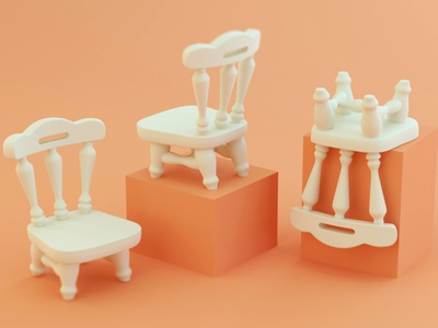 Stubby Chairs illustration stylized model cinema 4d 3d c4d
