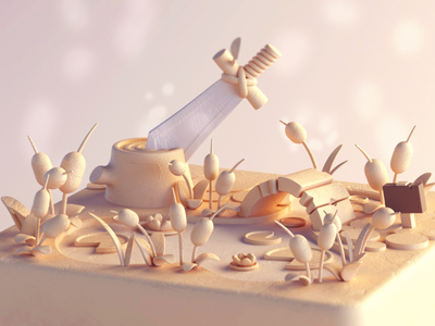 Excalibur's Pond c4dart cute cinema4d illustration octane stylized model cinema 4d 3d c4d