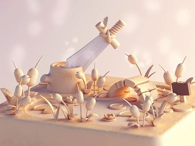 Excalibur's Pond c4dart cute cinema4d illustration octane stylized model cinema 4d 3d c4d