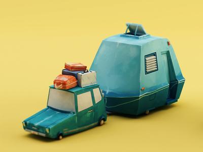Car and Caravan texture - complete c4d cinema 4d texture painterly paint car caravan yellow teal holiday camping toon