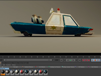 Squad Car Side c4d vrayforc4d uv mapping cartoon toon 3d