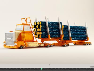 Log Truck Final painterly 3d c4d