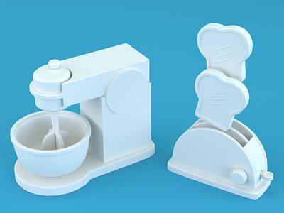 Kitchen appliances stylized cute 3d model c4d