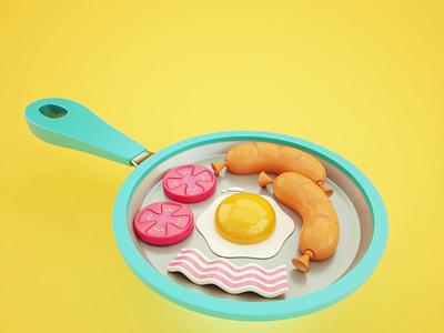Breakfast time cute bacon eggs flip pan sausage breakfast mograph motion animation c4d