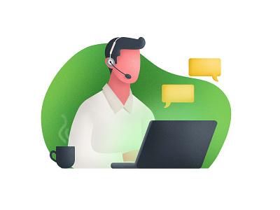 Support Illustration for iGap office graphic  design customer care customer service call character support customer support company startup landing page illustrator illustration