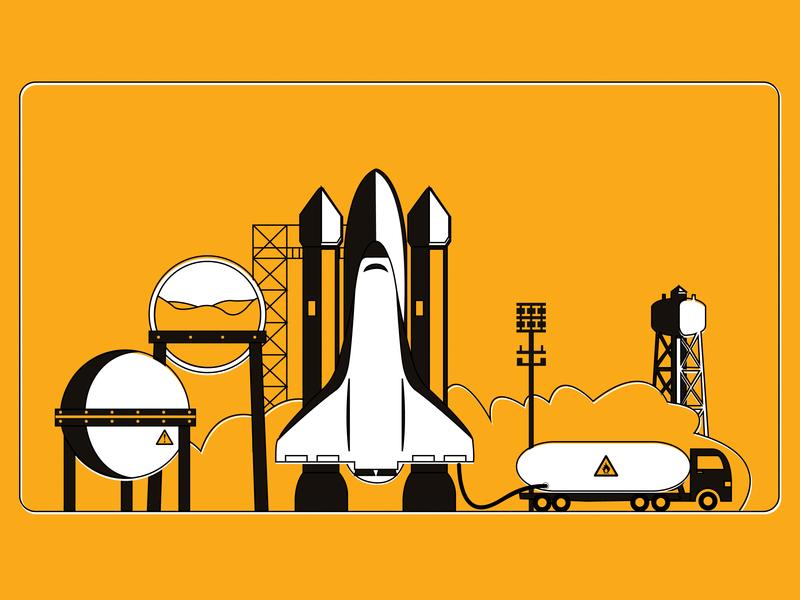 VC Investment refuel venture capital venture tunker investment risk rocket shuttle gas factory company startup branding vector graphic  design landing page illustrator illustration design