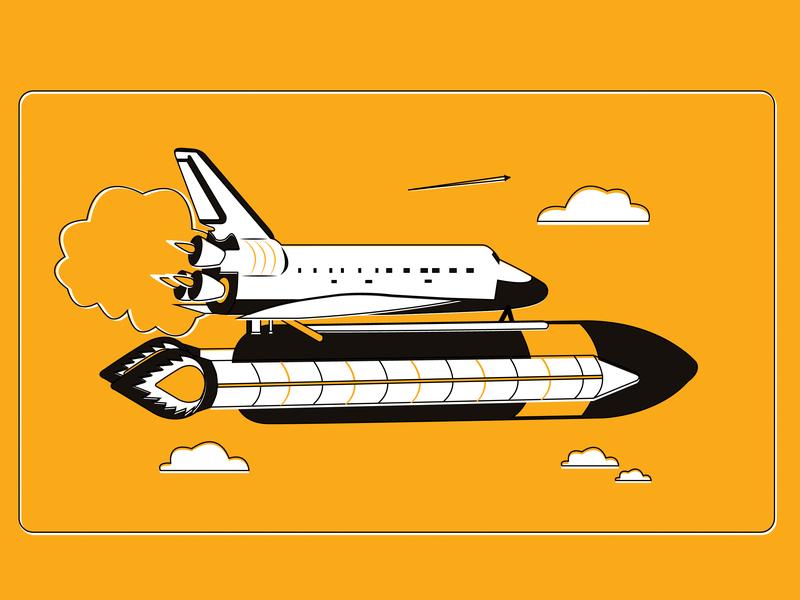 B2B Services fly sky nasa elun musk feul rocket space aerial refueling shuttle company startup branding vector graphic  design landing page illustrator illustration design