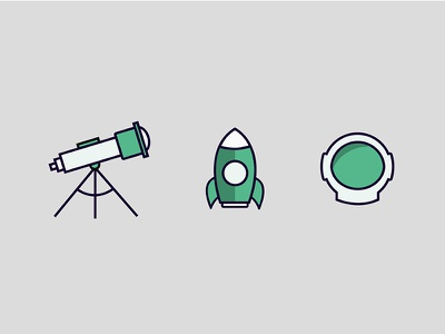blast off! space icons rocket telescope astronaut illustration flat science