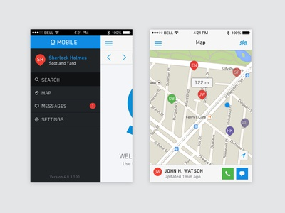 Palantir Mobile Navigation + Map