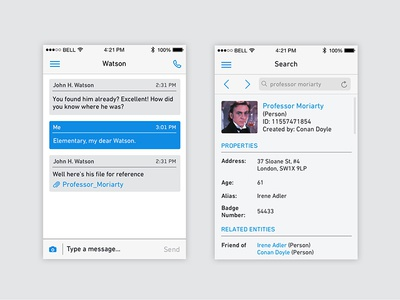 Palantir Mobile: Messaging + Search