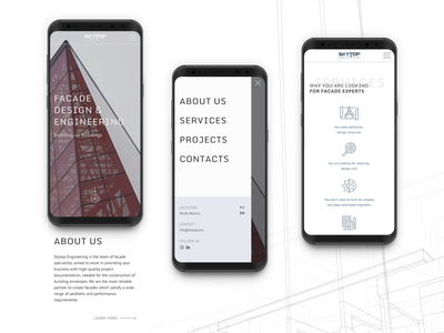 Mobile version of the website SKYTOP mobile version mobile design mobile ui mobile building minimalist ui ux minimalism minimalistic minimal clean