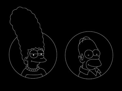Negative Simpsons inversion negative marge simpson illustration homer simpsons