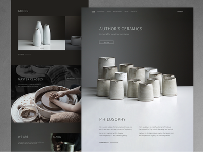 Author's Ceramics. Landing blackandwhite gray web design minimalistic minimalist clean minimal landing design landing page landing ceramics