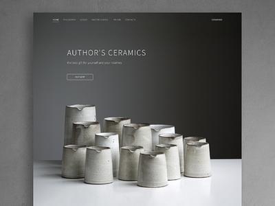 Author's Ceramic ceramics landing page landing minimalism minimalistic minimal web design website black and white monochrome