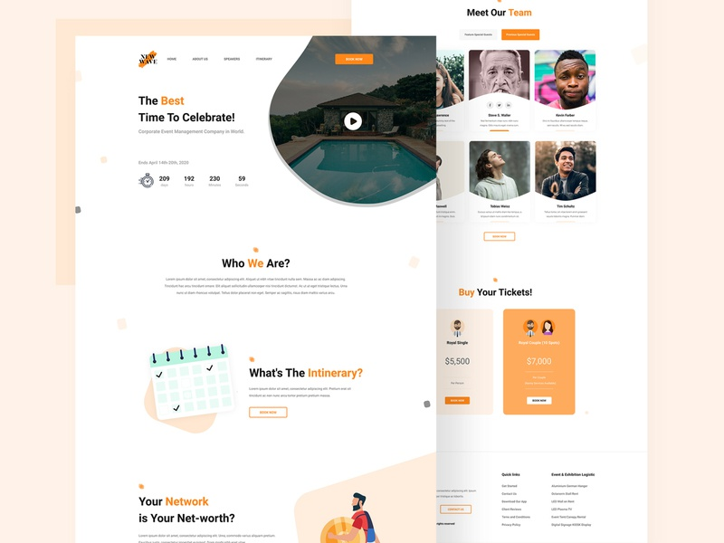Event Management Landing Page Design minimal layout landing page design landing page landingpage htmlcss html typography vector flat ux ui webdesign web illustration design colorful graphic animation