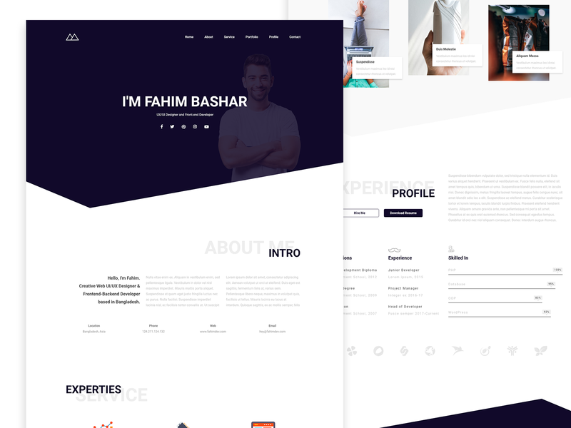 Pessoal - Resume One Page UI Design with Web Development wordpress theme wordpress development wordpress website web design ux web ux design ui ux design ui design ui  ux ui pack ui landing page jquery html5 design css3 bootstrap 4 adobe xd adobe