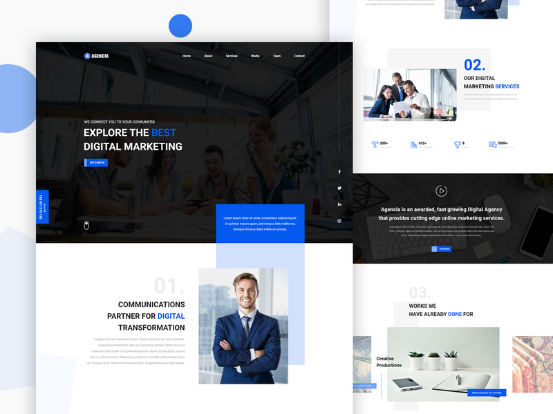 Digital Agency Website UI Concept digital agency digital agency animation wordpress website concept website web design web ux uidesign ui minimal layout landing page design landingpage html css html css clean