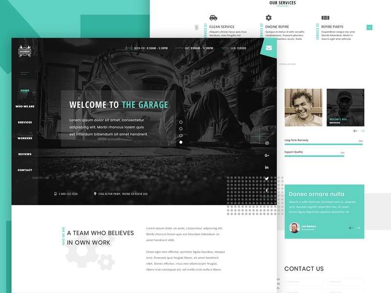 Garage Clean Landing Page UI Concept ui design website concept minimal layout landing page design landing page landingpage html css html clean bootstrap 4 ux web design design animation adobe wordpress web website ui