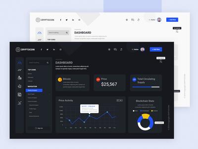 Cryptocoin - clean dashboard ui ux design