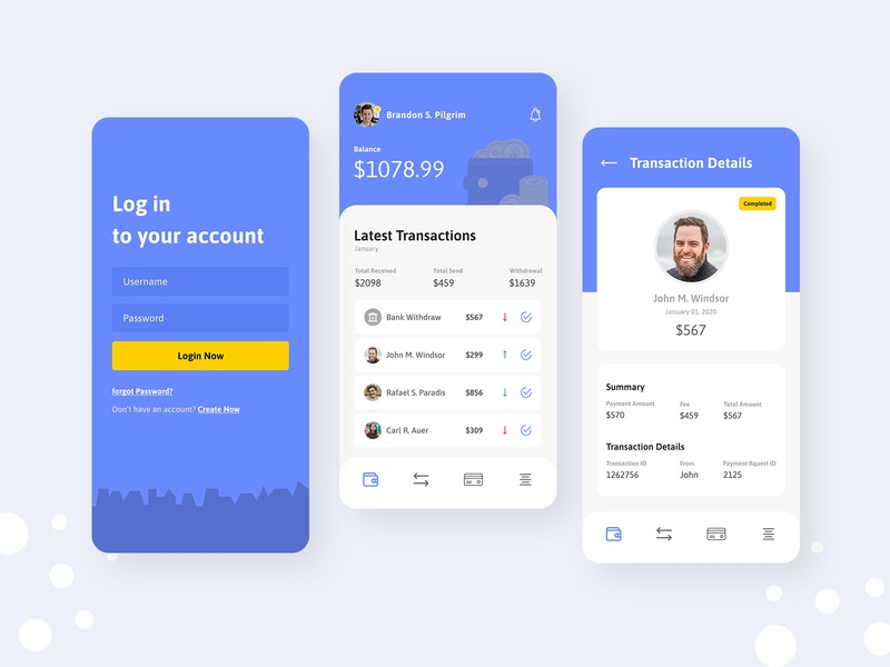 Billetera - Clean Wallet App UI UX Design adobe xd figma typogaphy vectors app design app payment app payment animation wallet design vector illustration clean ux ui